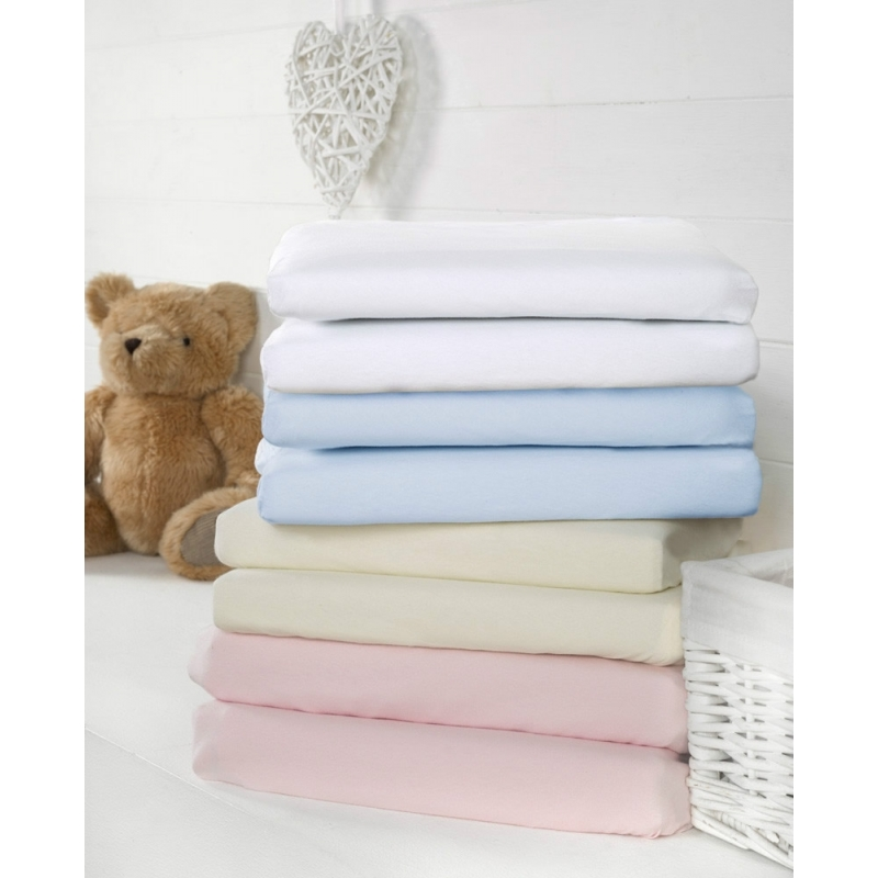 Bizzi Growin 2 Pack Moses/Pram Fitted Sheets-White