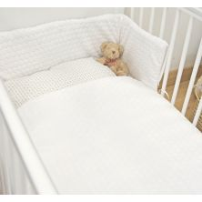 Kiddies Kingdom Marshmallow Cot/Cotbed LUXURY Quilt & Bumper Bedding Set-White