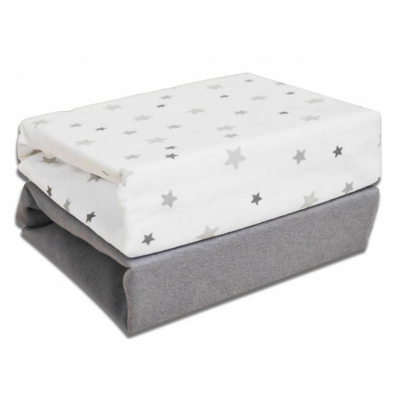 Kiddies Kingdom Deluxe 2 Pack Moses Basket Fitted Sheets-Magical Stars