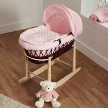 Kiddies Kingdom Deluxe Dark Wicker Moses Basket-Dimple Pink