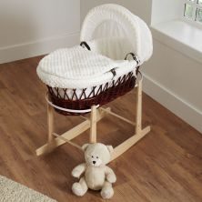 Kiddies Kingdom Deluxe Dark Wicker Moses Basket-Dimple Cream