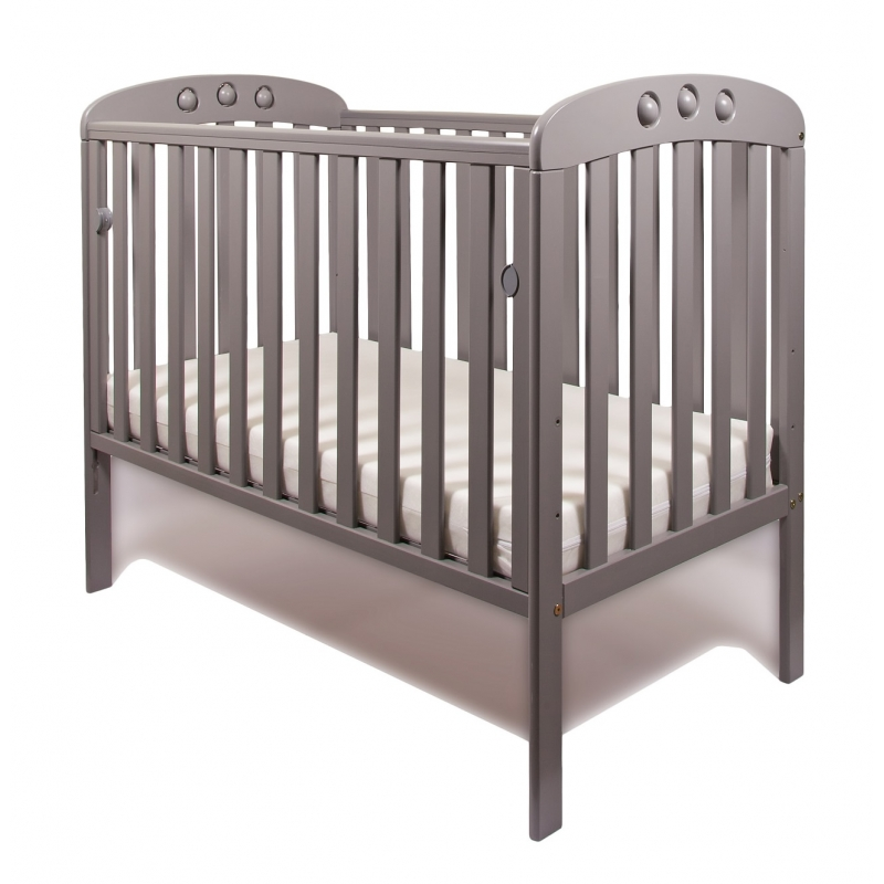 Little Babes Abbi Dropside Cot-Grey + Free Foam Mattress