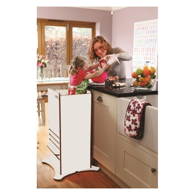 Little Helper Funpod Toddler Kitchen Safety Stand-White With Natural Edging