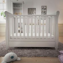 Babymore Eva Mini Sleigh Cot Bed DROPSIDE with Drawer-White + Free Sprung Mattress Worth £70!