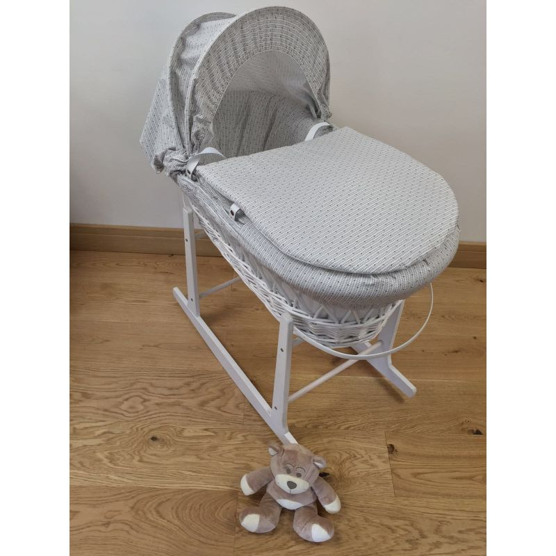 Kiddies Kingdom Deluxe White Wicker Moses Basket-Grey Dots + Rocking Stand Worth £30!