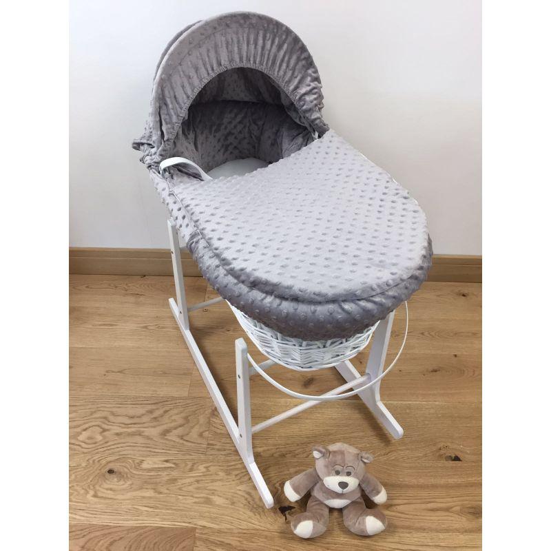 Kiddies Kingdom Deluxe White Wicker Moses Basket-Grey Fleece Dimple + Rocking Stand Worth £30!
