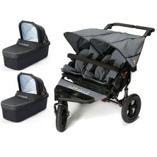 Out n About Nipper Double 360 V4 Pram System-Steel Grey (2 Carrycot)