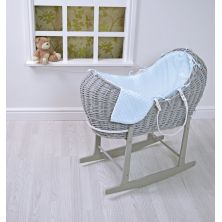 Kiddies Kingdom Deluxe Kiddy-Pod Grey Wicker Moses Basket-Blue Dimple + Free Rocking Stand Worth£25!