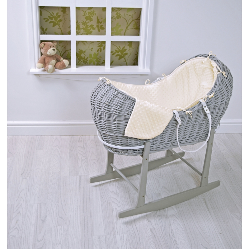 Kiddies Kingdom Deluxe Kiddy-Pod Grey Wicker Moses Basket-Cream Dimple + Free Rocking Stand Worth£25!