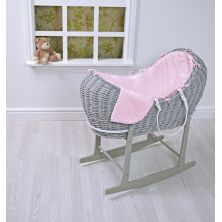 Kiddies Kingdom Deluxe Kiddy-Pod Grey Wicker Moses Basket-Pink Dimple + Free Rocking Stand Worth£25!