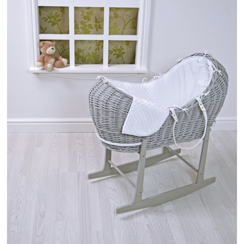 Kiddies Kingdom Deluxe Kiddy-Pod Grey Wicker Moses Basket-White Dimple + Free Rocking Stand Worth£25!