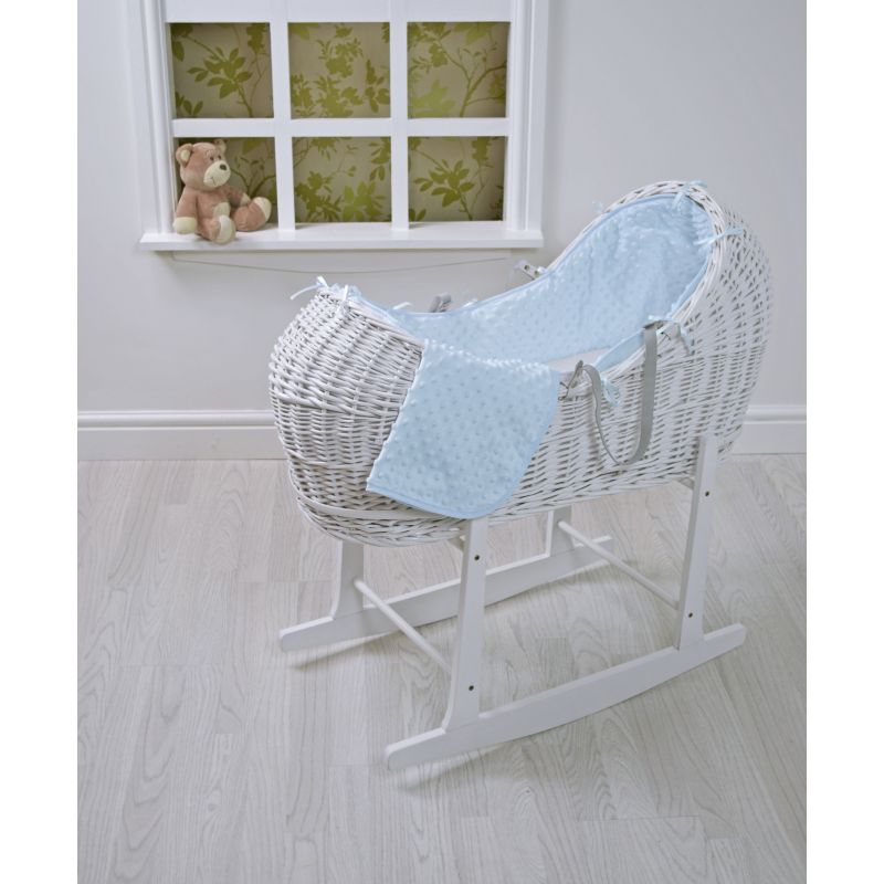 Kiddies Kingdom Deluxe Kiddy-Pod White Wicker Moses Basket-Blue Dimple + Free Rocking Stand Worth£25!
