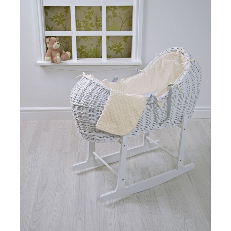 Kiddies Kingdom Deluxe Kiddy-Pod White Wicker Moses Basket-Cream Dimple + Free Rocking Stand Worth£25!