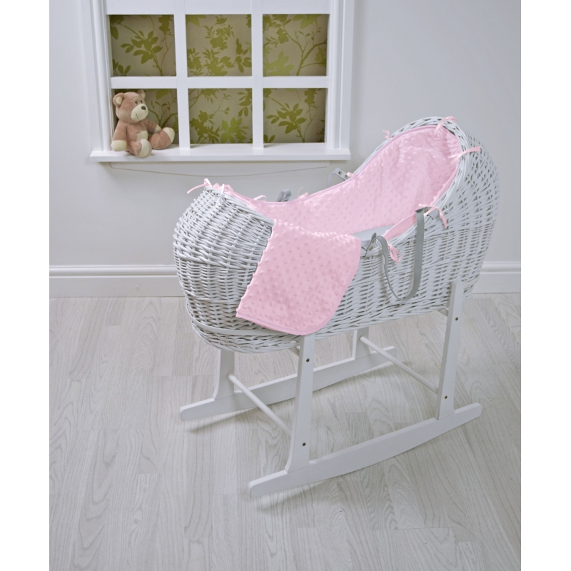 Kiddies Kingdom Deluxe Kiddy-Pod White Wicker Moses Basket-Pink Dimple + Free Rocking Stand Worth£25!