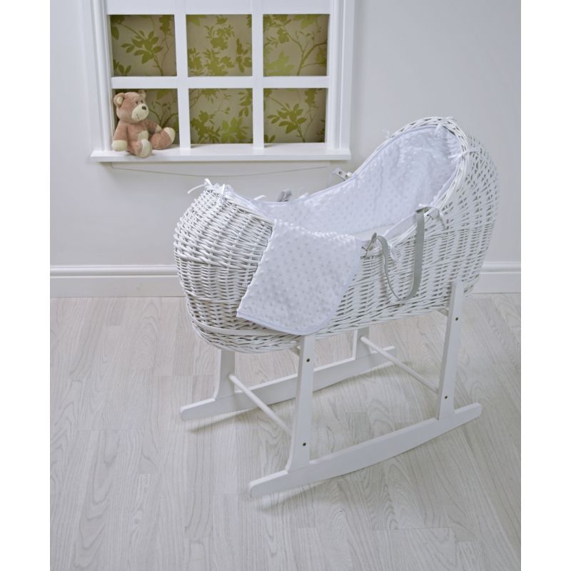 Kiddies Kingdom Deluxe Kiddy-Pod White Wicker Moses Basket-White Dimple + Free Rocking Stand Worth£25!
