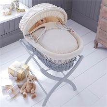 Izziwotnot Grey Wicker Moses Basket-Cream Premium Gift + Includes WHITE Stand!