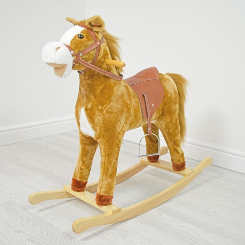 Kiddies Kingdom Large Rocking Horse With Sound-Autumn