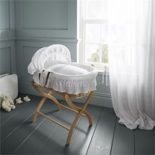 Izziwotnot Natural Wicker Moses Basket-Royal Lace White