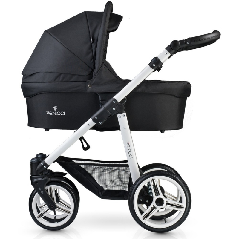 Venicci New White Chassis 3in1 Travel System-Black (New 2017)