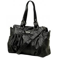 Vanchi Leather Look Zeppelin Carrier Changing Bag-Blackbird