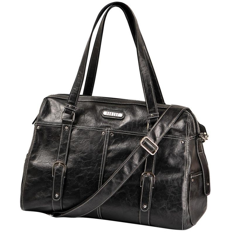 Vanchi Leather Hendrix Wedge Changing Bag-Blackbird