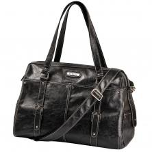 Vanchi Leather Look Hendrix Wedge Changing Bag-Blackbird