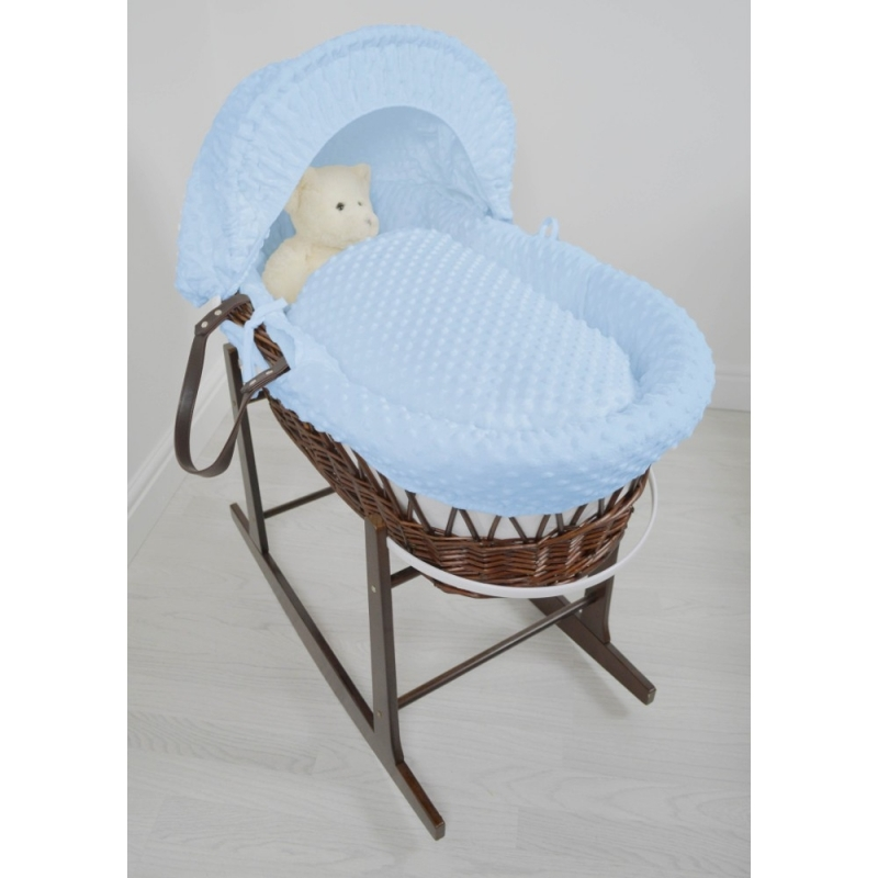 Kiddies Kingdom Deluxe Dark Wicker Moses Basket-Dimple Blue & INCL Rocking Stand!