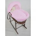 Kiddies Kingdom Deluxe Dark Wicker Moses Basket-Dimple Pink & INCL Rocking Stand!