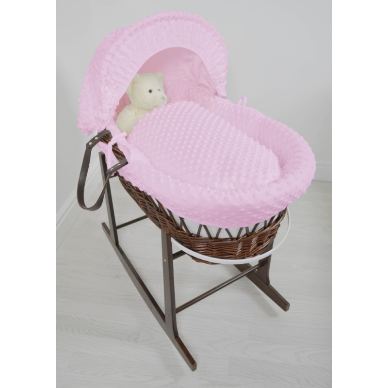 Kiddies Kingdom Deluxe Dark Wicker Moses Basket-Dimple Pink & INCL Rocking Stand!