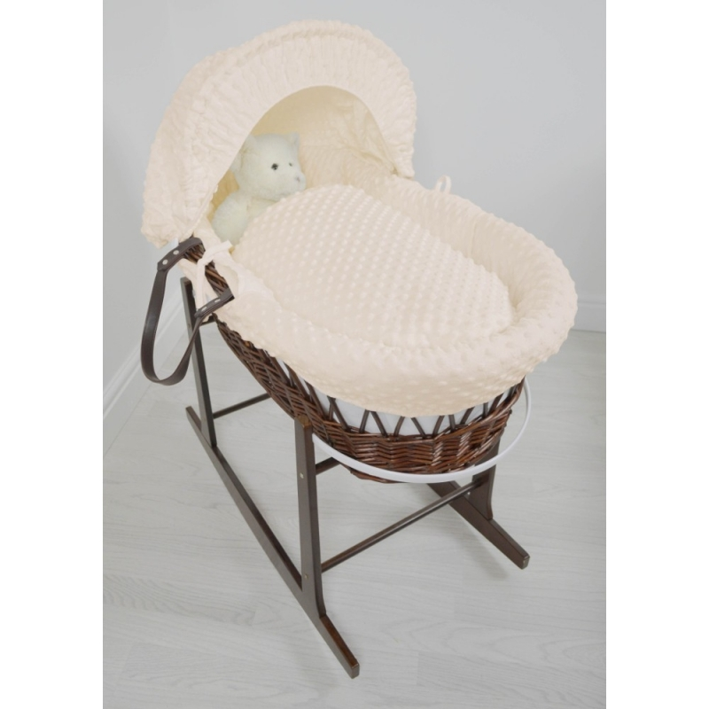 Kiddies Kingdom Deluxe Dark Wicker Moses Basket-Dimple Cream & INCL Rocking Stand!