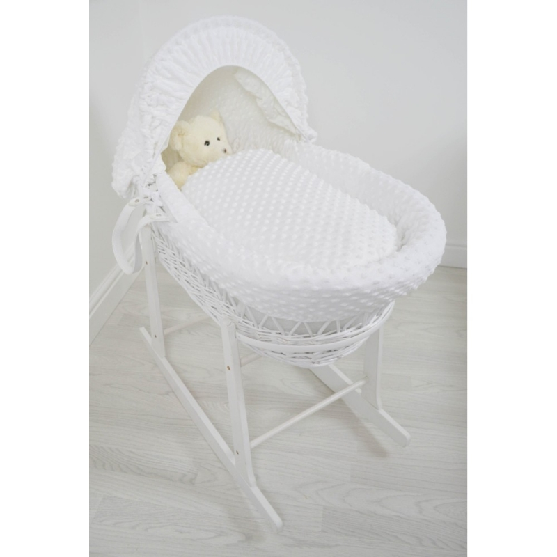 Kiddies Kingdom Deluxe White Wicker Moses Basket-Dimple White