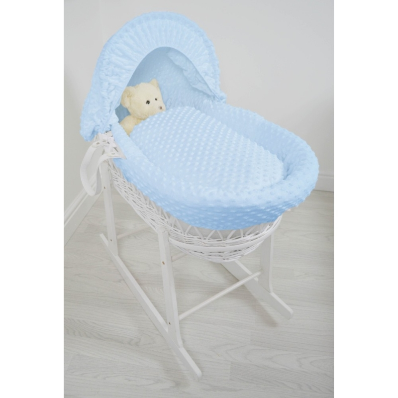 Kiddies Kingdom Deluxe White Wicker Moses Basket-Dimple Blue & INCL Rocking Stand!