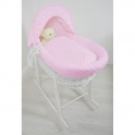 Kiddies Kingdom Deluxe White Wicker Moses Basket-Dimple Pink & INCL Rocking Stand!