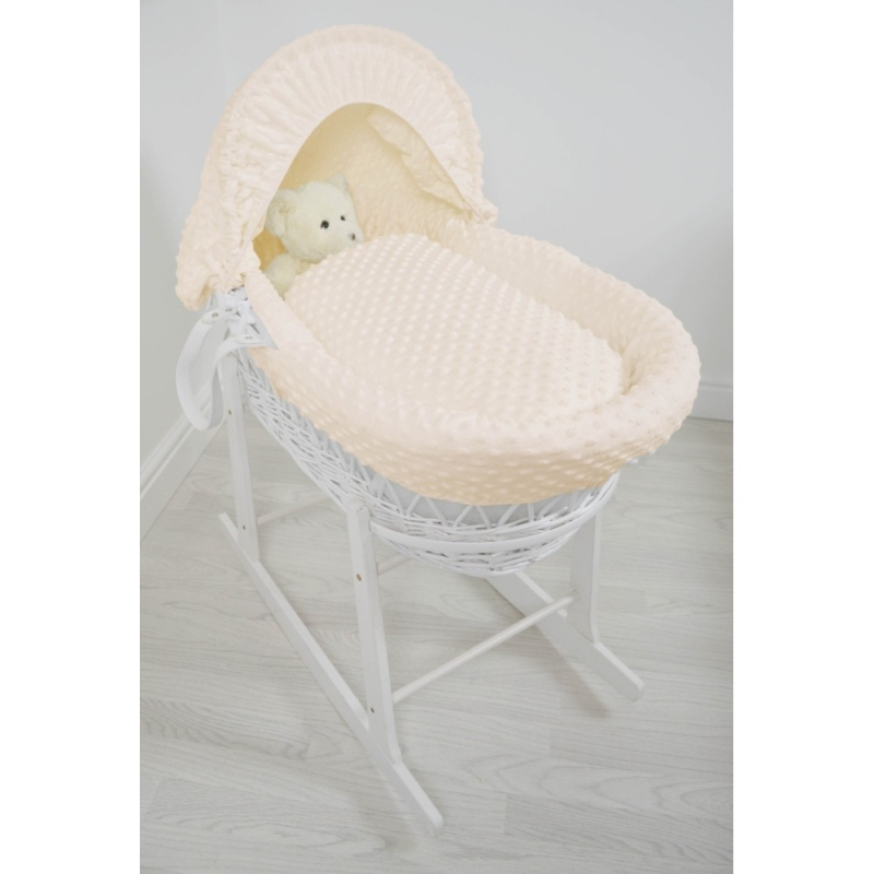 Kiddies Kingdom Deluxe White Wicker Moses Basket-Dimple Cream & INCL Rocking Stand!
