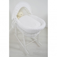 Kiddies Kingdom Deluxe White Wicker Moses Basket-Dimple White & INCL Rocking Stand!