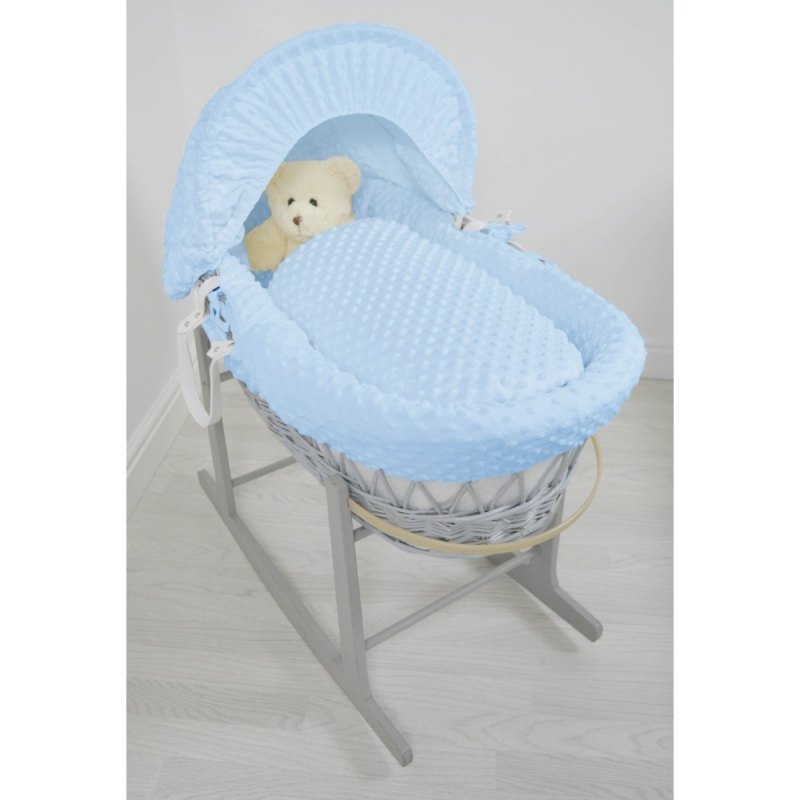 Kiddies Kingdom Deluxe Grey Wicker Moses Basket-Dimple Blue