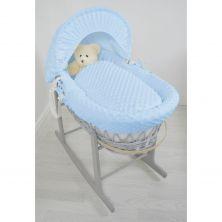 Kiddies Kingdom Deluxe Grey Wicker Moses Basket-Dimple Blue