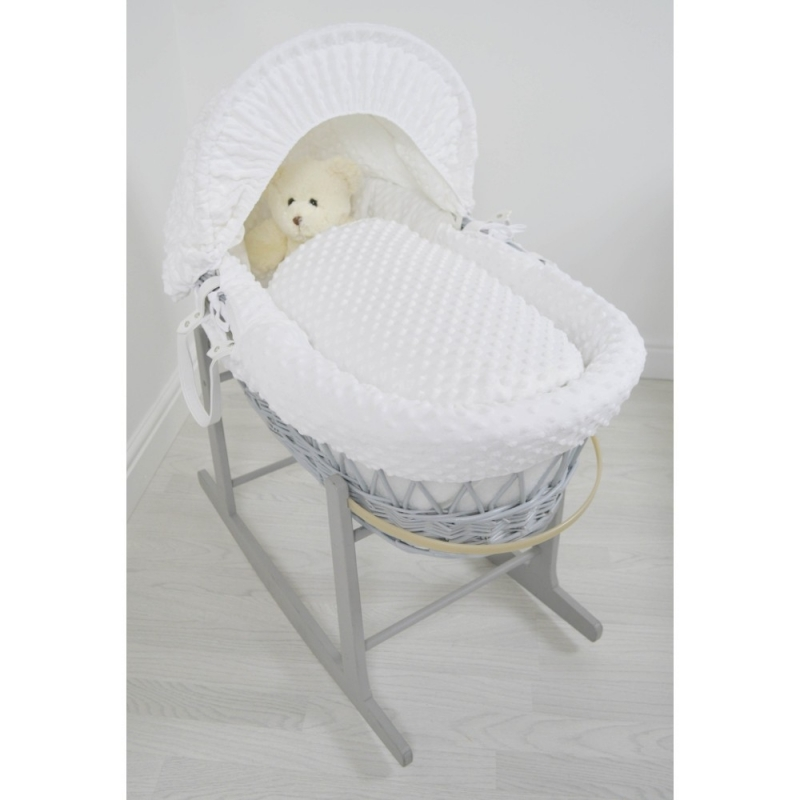 Kiddies Kingdom Deluxe Grey Wicker Moses Basket-Dimple White & INCL Rocking Stand!
