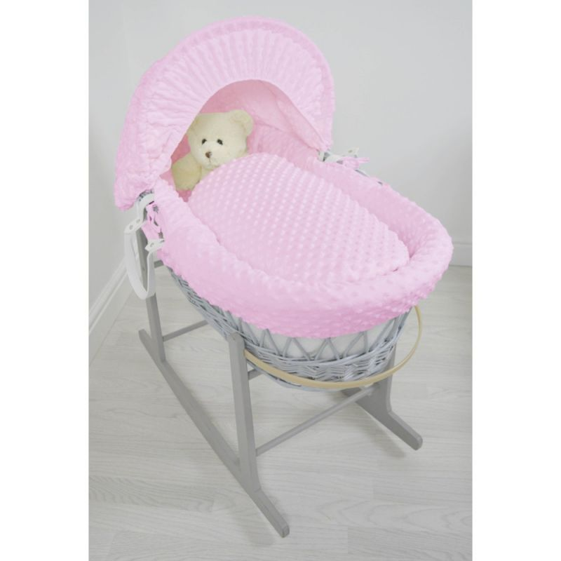 Kiddies Kingdom Deluxe Grey Wicker Moses Basket-Dimple Pink & INCL Rocking Stand!