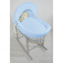 Kiddies Kingdom Deluxe Grey Wicker Moses Basket-Dimple Blue & INCL Rocking Stand!