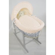 Kiddies Kingdom Deluxe Grey Wicker Moses Basket-Dimple Cream & INCL Rocking Stand!