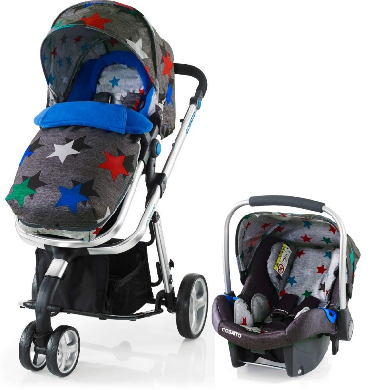 Cosatto Woop 3in1 Travel System with Port Car Seat-Grey Megastar (New)