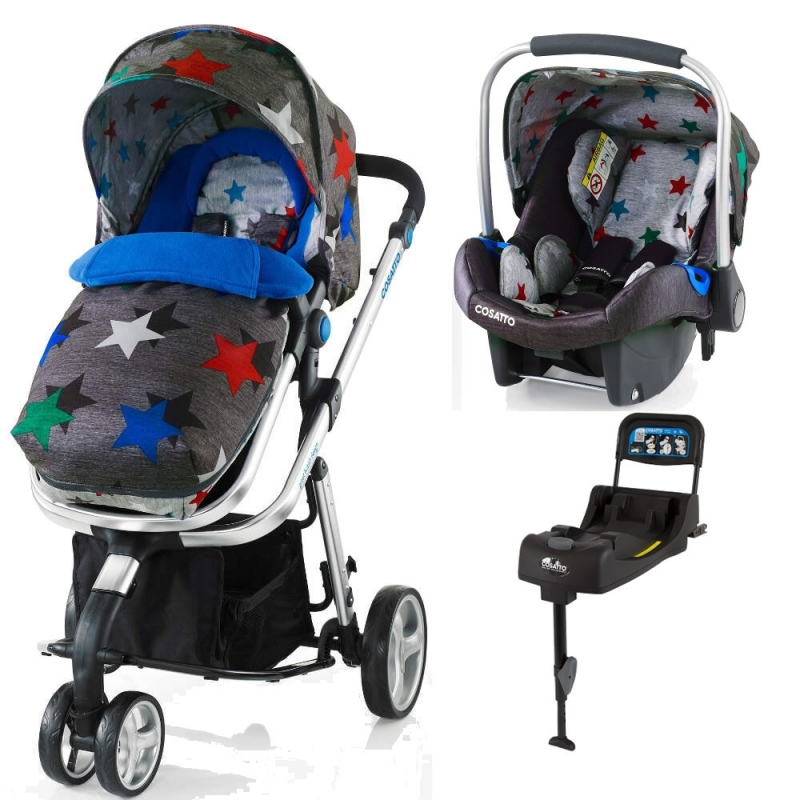 Cosatto Woop 3in1 Travel System with Port Car Seat and Port ISOFIX Base-Grey Megastar (New)