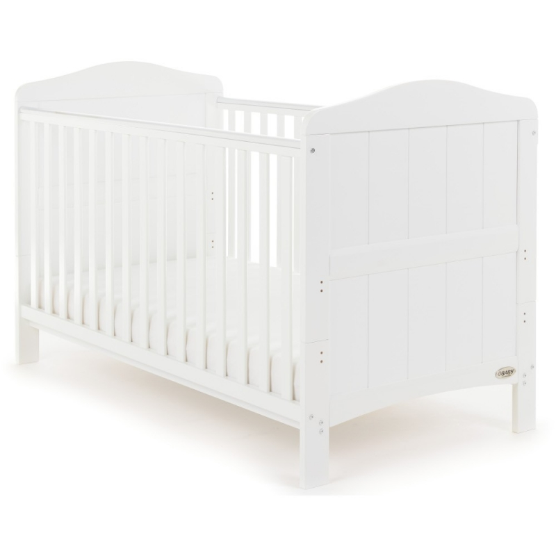 Obaby Whitby Cot Bed-White (New 2017) + FREE Sprung Mattress Worth £59.99