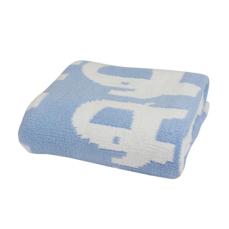 Bizzi Growin Elephant Chenille Blanket-Blue