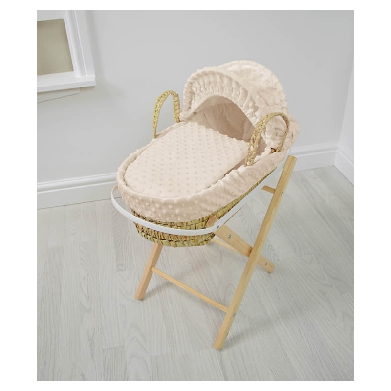 Kiddies Kingdom Dolls Moses Basket-Dimple Cream With Folding Stand!
