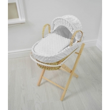 Kiddies Kingdom Dolls Moses Basket-Dimple White With Folding Stand!