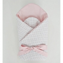 Little Babes Soft Swaddle Wraps-White Spotty With Powder Pink