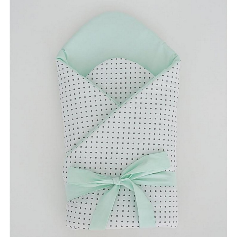 Little Babes Soft Swaddle Wraps-White Spotty With Mint
