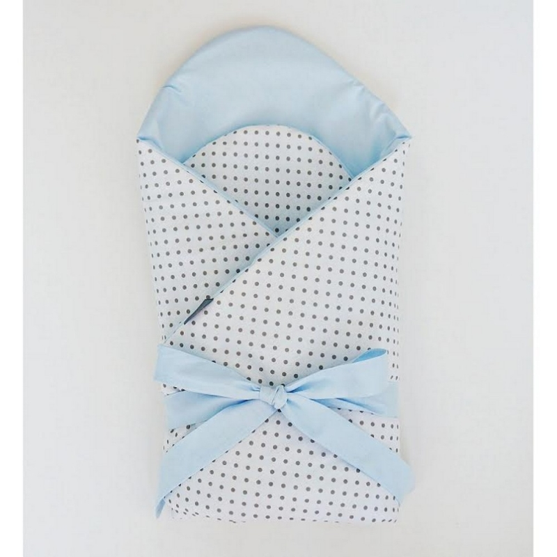 Little Babes Soft Swaddle Wraps-White Spotty With Blue
